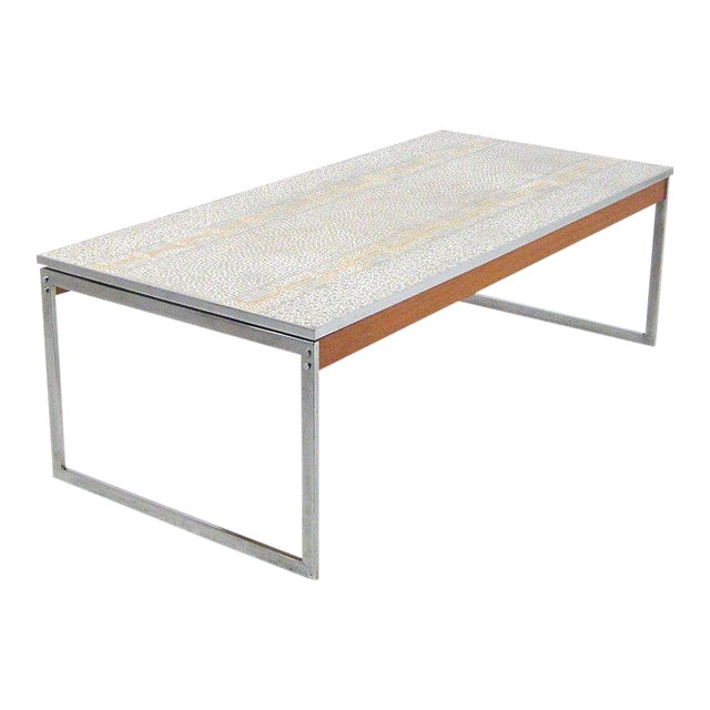 1960s Mid-Century Modern Chrome and Mosaic Coffee Table For Sale