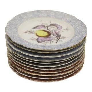 Antique Austrian Dessert Plates, S/11 For Sale