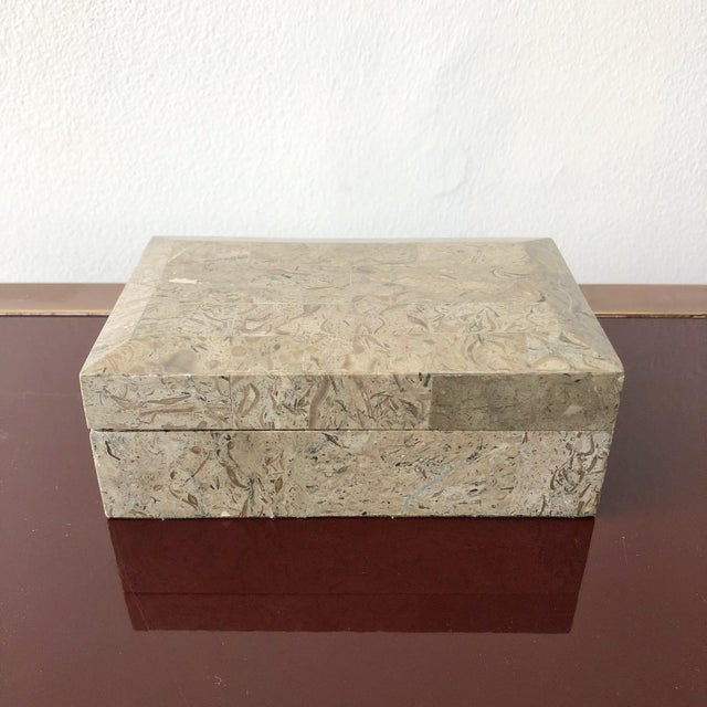 1980s Tessellated Marble Hinged Vintage Box For Sale - Image 9 of 9