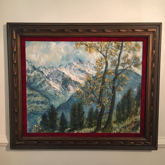 An exquisite heavily textured vintage oil mountain Landscape painting Signed R. Woolman.