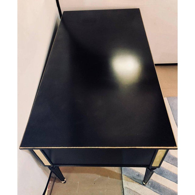 Louis XVI Style Bronze-Mounted Ebony Writing Desk or Vanity in Jansen Manner For Sale - Image 10 of 12