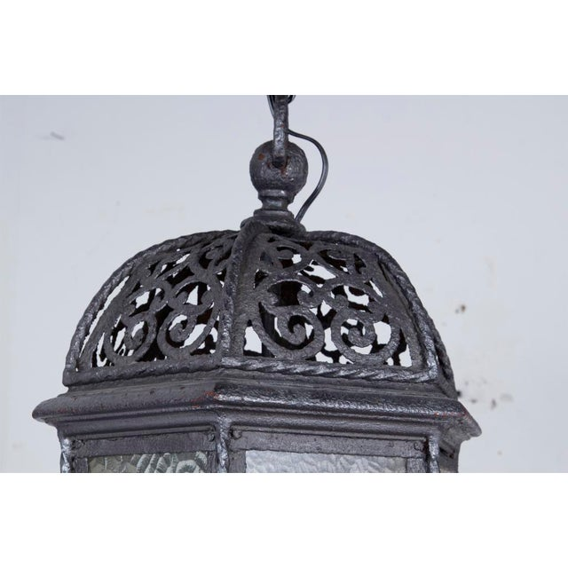 A very nice old wrought iron lantern made in Spain during the first part of the 20th Century. Condition: Wear and...