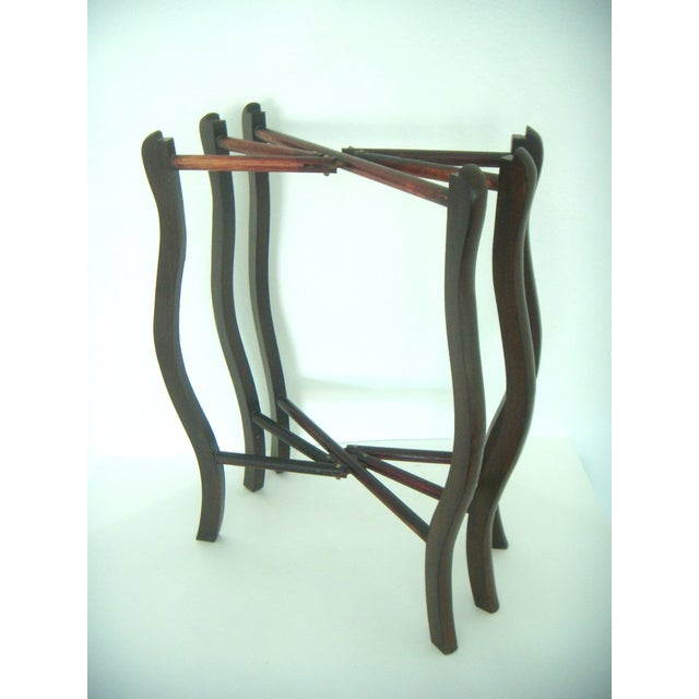 Mid 20th Century Folding Chinese Two Tier Brass Side Tray Table For Sale - Image 5 of 8