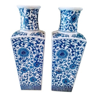 Tall Blue and White Chinoiserie Ceramic Vases - a Pair For Sale