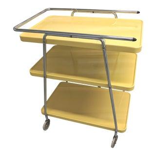 Mid-Century Modern Yellow Utility Cart