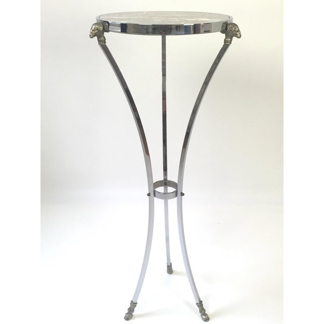 Hollywood Regency Italian Regency Steel, Brass & Marble Rams Head Pedestal Table For Sale - Image 3 of 7