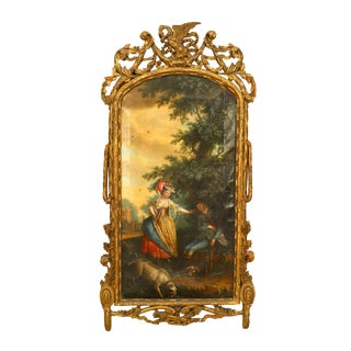 French Louis XVI Scene With a Dog and a Young Lady Oil Painting For Sale