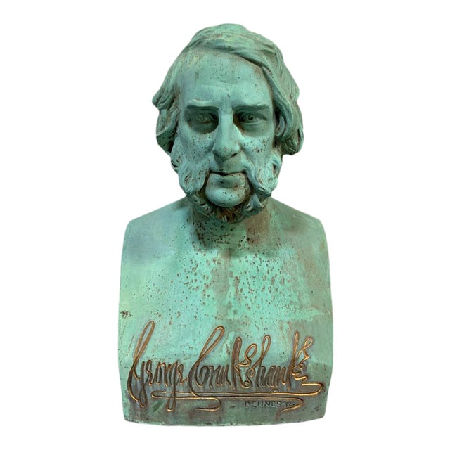 Patinated Bronze Bust of George Cruikshank by William Behnes For Sale