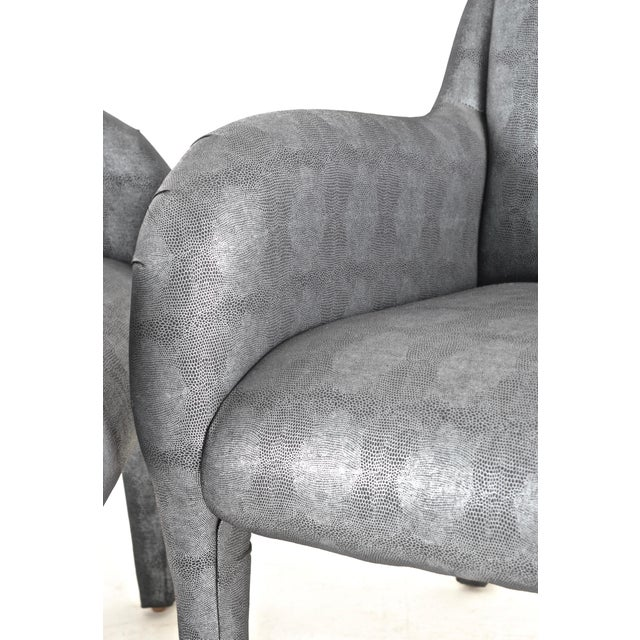Pair of 1980s Armchairs in Metallic Faux Shagreen For Sale - Image 9 of 10