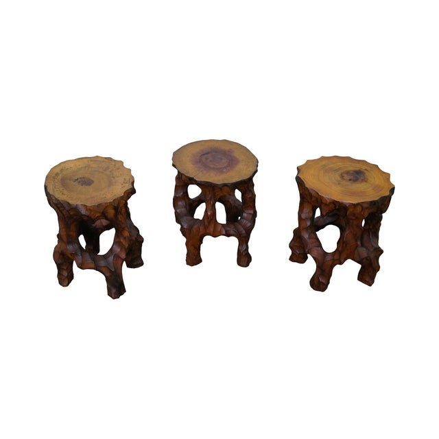 Mid Century Small Tree Stump Carved End Tables - Image 1 of 10
