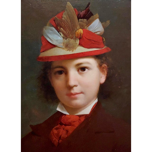 Stephen William Shaw -19th C. Portrait of a Fashionable Young Girl W/A Feather Hat-Oil Painting For Sale - Image 4 of 11