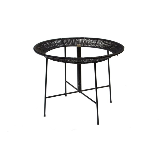 Round Wrought Iron and Raffia Dining Patio Table For Sale - Image 12 of 12