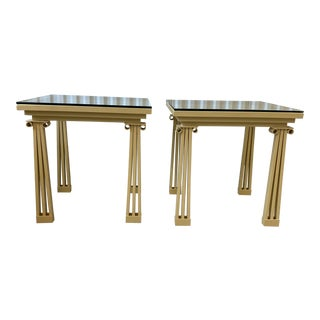 Postmodern Ionic Column Lacquered Wrought Iron Side Tables With Glass Tops - a Pair For Sale
