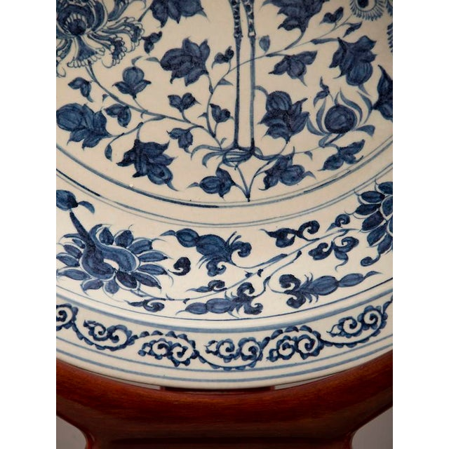 Grand Scale Vintage Chinese Blue and White Glazed Bowl For Sale - Image 9 of 10