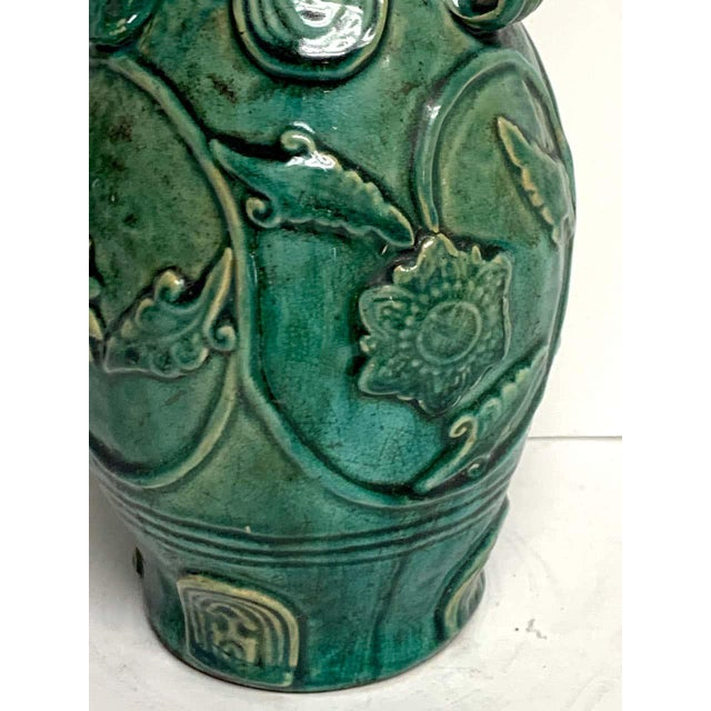 Chinese Green Glazed Lotus Motif Vase For Sale - Image 4 of 10