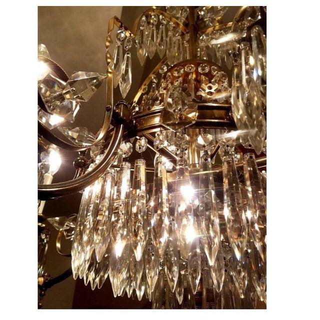 Large Crystal & Bronze Chandelier For Sale - Image 4 of 6