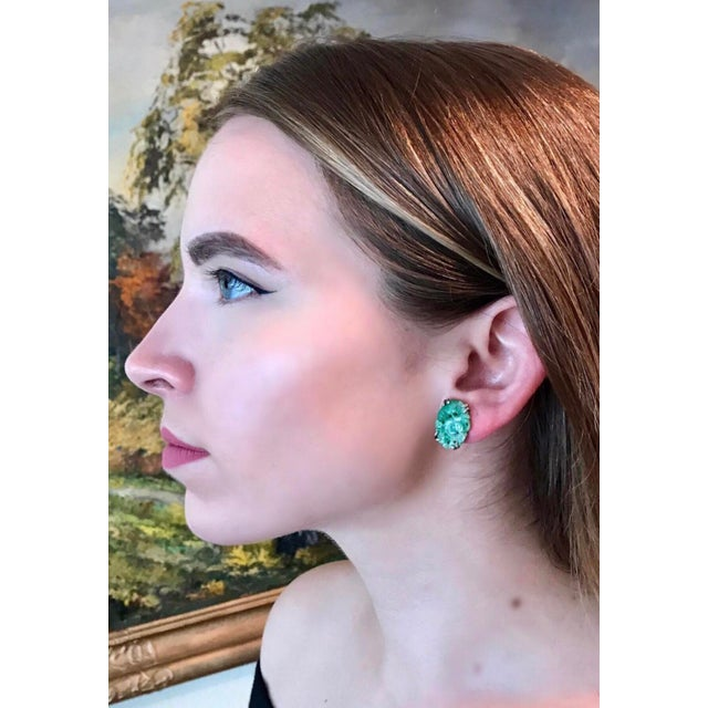 Asian 1930s Carved Jade and Sterling Screw Back Earrings For Sale - Image 3 of 7