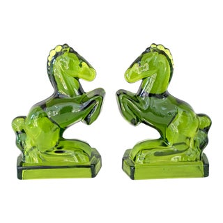 Art Deco Green Glass Towering Horse Bookends - a Pair For Sale