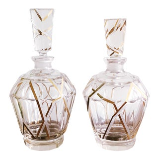 Czech Bohemian Art Deco Glass Decanters by Karl Palda, - a Pair For Sale