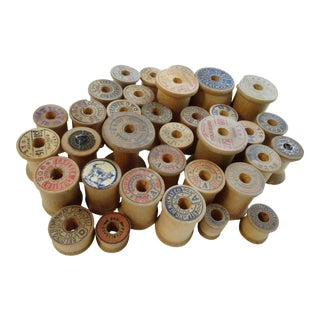 Antique Thread Wooden Spools - Set of 34