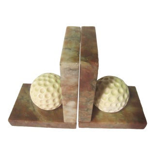 Carved Alabaster Golf Ball Bookends - a Pair For Sale