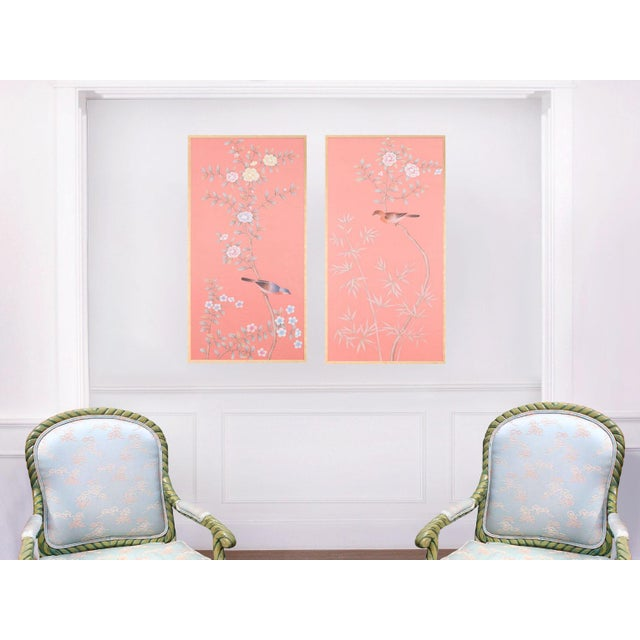 """Not Yet Made - Made To Order Jardins en Fleur """"Luton House"""" Chinoiserie Hand-Painted Silk Diptych by Simon Paul Scott in Italian Gold Frame - a Pair For Sale - Image 5 of 7"""