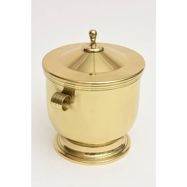 Mid-Century Modern Classic Tommi Parzinger Polished Brass Ice Covered Ice Bucket For Sale - Image 3 of 9