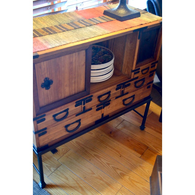 Antique Japanese Choba Tansu With Iron Base For Sale - Image 11 of 12