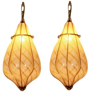 1950s Ivory and Gold Murano Glass Chandeliers With Brass Details - a Pair For Sale