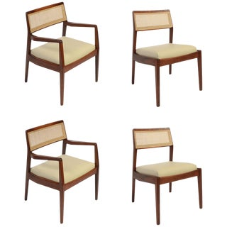 """Set of Four Jens Risom """"Playboy"""" Chairs in Walnut, Cane and Leather For Sale"""