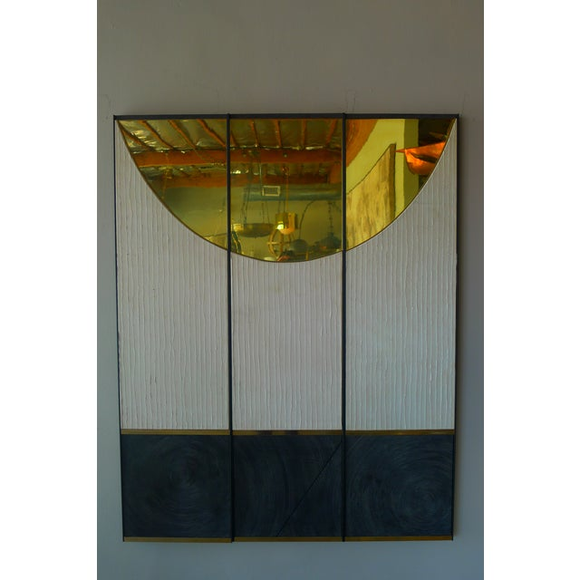 Triptych art panels by Paul Marra consisting of leather, brass, textured wood, steel frames.. Shown hung as 49.5w - each...