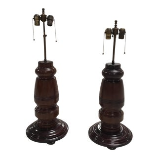 Mahogany Table Lamps - A Pair For Sale