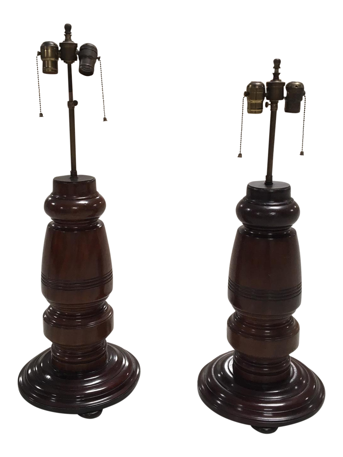 Mahogany Table Lamps   A Pair