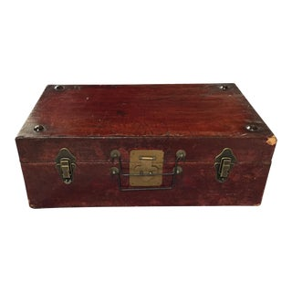 Vintage Leather Wrapped Wooden Trunk For Sale