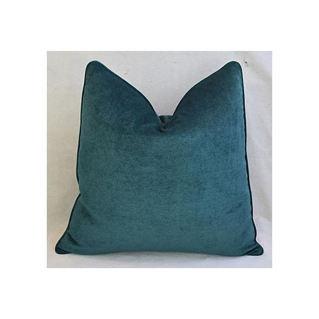Boho Chic Custom Tailored Marine Green/Turquoise Velvet Feather/Down Pillows - Set of 2 For Sale - Image 3 of 8