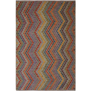 Contemporary Tribal Sidney Grey/Blue Hand-Woven Kilim Wool Rug - 8'5 X 11'4 For Sale