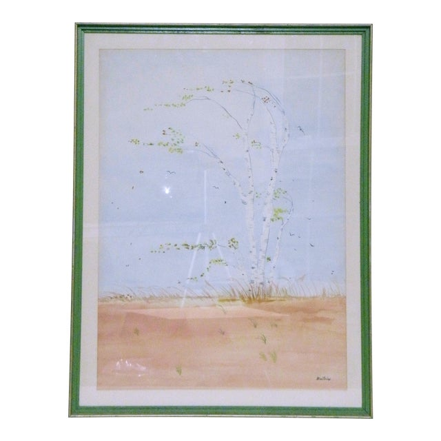 Vintage Mid-Century Gusty Birch Tree Landscape Watercolor Painting For Sale