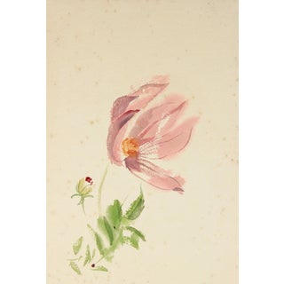 Mid Century Watercolor on Paper Floral Study in Pink and Green For Sale