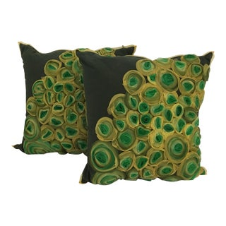 Green & Yellow Abstract Pillows - a Pair