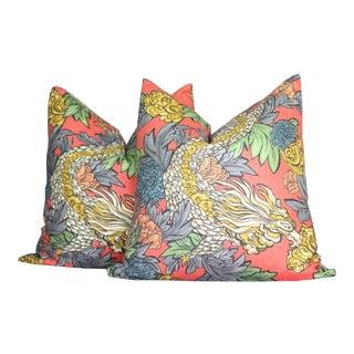 Robert Allen Ming Dragon Persimmon Pillows - A Pair For Sale