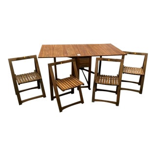 1960s Mid-Century Modern Drop Leaf Dining Set - 5 Pieces For Sale