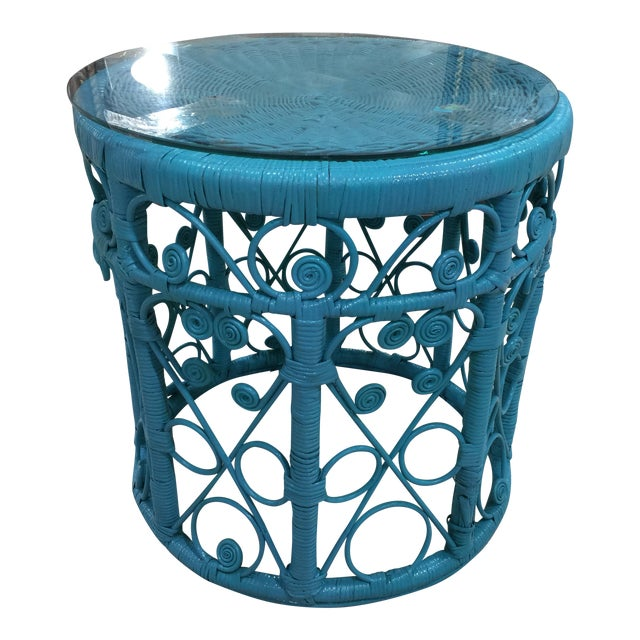 Blue Wicker Drum Table - Image 1 of 9