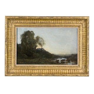 Le Gué Aux Cinq Vaches By Jean-Baptiste-Camille Corot