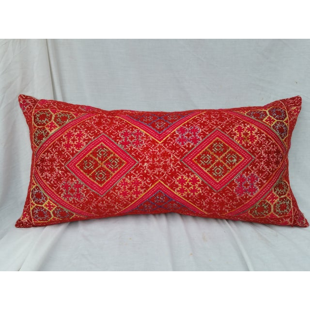Hand-Embroidered Silk Lumbar Pillow - Image 2 of 6