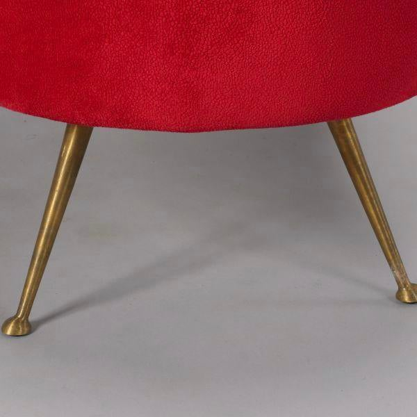 Red Italian Gio Ponti Style Kidney Shape Bench with Brass Feet For Sale - Image 8 of 9