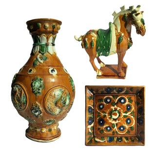 Chinese Pottery Horses - Set of 3 For Sale