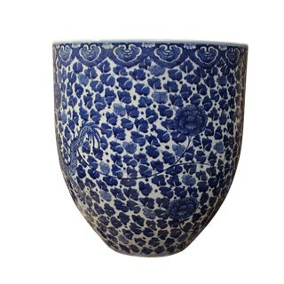 Chinese Blue & White Porcelain Floral Dragon Pot For Sale