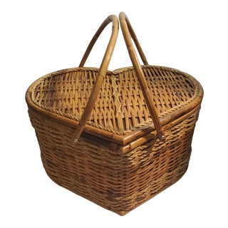 Vintage Bamboo & Raffia Heart Shaped Picnic Basket For Sale