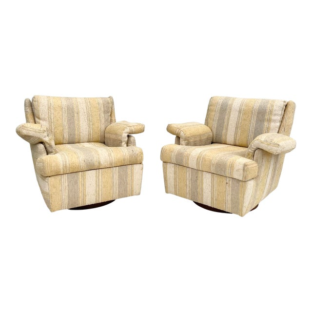 Pair Mid-Century Swivel Lounge Chairs From Craft Associates For Sale