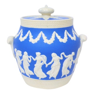 Antique Spode Blue Jasperware Biscuit Jar For Sale
